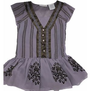 Mary-Kate And Ashley Brown Flocked Purple Dress 6